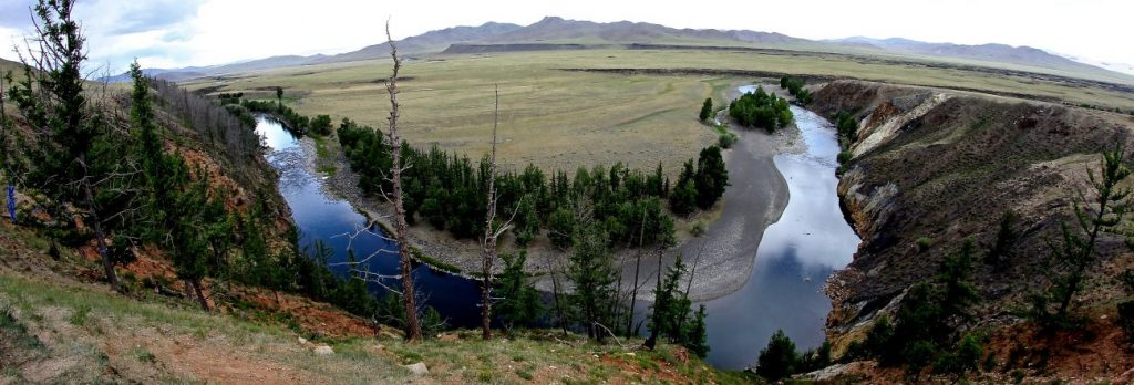 Les méandres sur la vallée de la rivière Orkhon Mongolie
