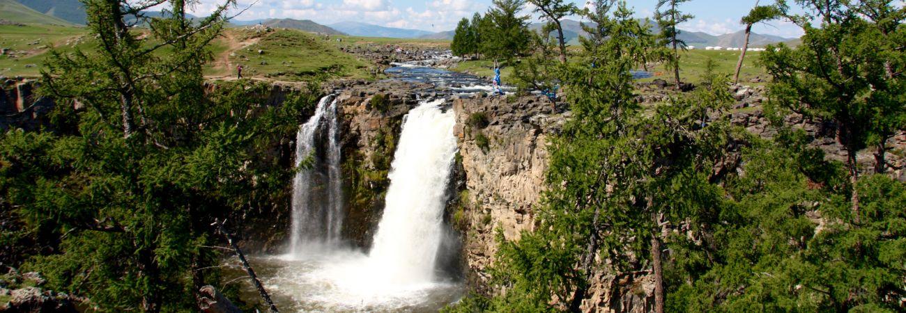 La chute de L'Orkhon Khangai Mongolie