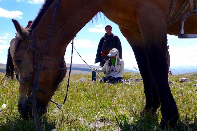 En trappeur cheval Mongolie