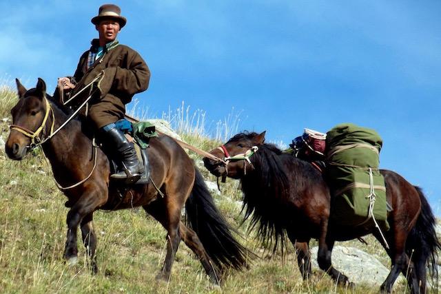 Guide mongol en cheval de bât